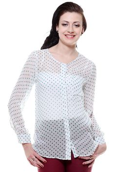 Polka dot blouse with single patch pocket, concealed front placket, full sleeve with barrel cuff. Semi-sheer fabric. Wear it with matching spaghetti or tube top.