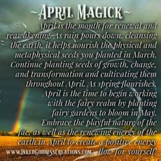 ~ April Magick ~ April is the month for renewal and reawakening. As rain pours down, cleansing the earth, it helps nourish the physical and metaphysical seeds you planted in March. Meditation Scripts, Daily Meditation, Magick Spells, Wicca Witchcraft, Moon Magic, Sabbats, Spiritual Path, Book Of Shadows, Months In A Year