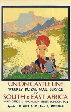 Union-Castle Line - weekly Royal Mail service to South & East Africa - (R. Ec 3, Railway Posters, East Africa, Vintage Travel Posters, Africa Travel, Royal Mail, Illustrators, Tourism, Castle