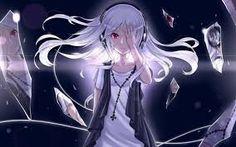 Image result for anime headphone girl black and white