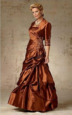 Long strapless orange taffeta sleeveless pleated embroidery Mother Of The Bride Dress MBD257131
