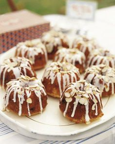 Mini Almond Bundt Cakes from M. Might need to double for a full party--great for a baby shower. To make one large Bundt cake instead of six small ones, double this recipe and bake in a Bundt pan for 45 to 50 minutes. Mini Desserts, Just Desserts, Dessert Recipes, Party Recipes, Cupcakes, Cupcake Cakes, Almond Bundt Cake Recipe, Recipe For Mini Bundt Cakes, Almond Cakes