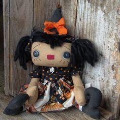 Beckie Raggedy Annie witch doll cloth doll by littleblackcrow, $60.00