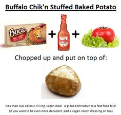 Buffalo Chik'n Stuffed Baked Potato.  An extremely easy weeknight dinner or office lunch!  #vegan