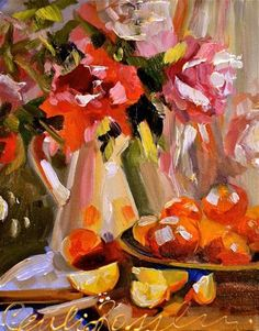 """ORANGES"" - Original Fine Art for Sale - © by Cecilia Rosslee"
