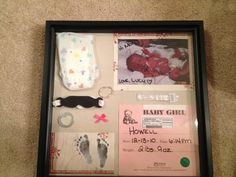 NICU shadow box - this is awesome, and would be so sentimental instead of keeping all their stuff in just a box! :)