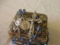 ANTIQUE Sterling Silver ROSARY St. Therese Jude Medals Grapes Metal Box Vintage
