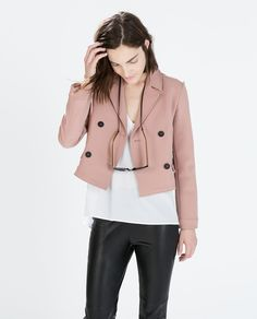 Image 2 of SHORT DOUBLE BREASTED BLAZER from Zara