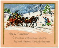 vintage christmas cards   Here is another vintage Christmas card with horses for you, Susana ...