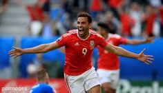 Wales' Hal Robson-Kanu celebrates scoring his side's second goal of the game during the UEFA Euro 2016, Group B match at the Stade de Bordeaux, Bordeaux. Photo by Mike Egerton