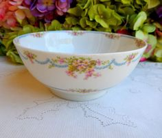Beautiful Vintage Limoges Porcelain Waste Bowl Pink Flowers Blue Swags #GuerinLimoges