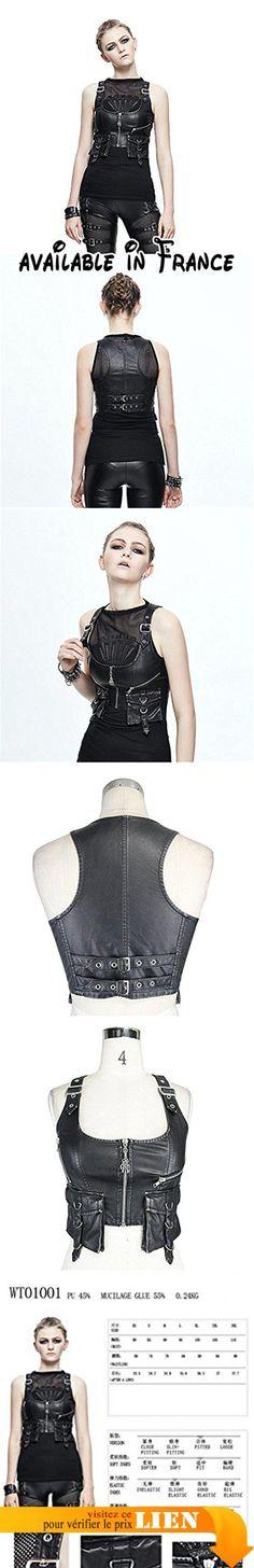 B0749LSJKX : Devil Fashion Punk Pu Gilet En Cuir Gilet Impressionnant Gothique Sans Manches Gilet Veste pour les Femmes 3XL.