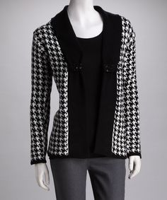 Black & White Houndstooth Open Cardigan - Women