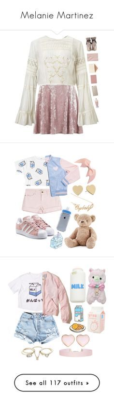 """Melanie Martinez"" by catilynhartzog ❤ liked on Polyvore featuring Topshop, Miss Selfridge, Jimmy Choo, Dempsey & Carroll, Royce Leather, vintage, Current/Elliott, adidas Originals, Jellycat and Kate Spade"