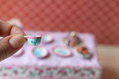 Dollhouse miniature.1/12 scale.  Spring theme coffee cup. Porcelain painting.