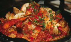Roy Yamaguchi's Paella made with shrimp, chicken, and Portuguese sausage