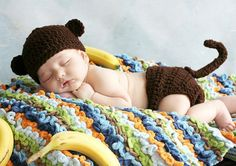 Crochet Brown Baby Monkey Hat and Diaper cover set with Tail Boy or Girl preemie newborn, 0-3 month, 3-6 month on Etsy, $26.99