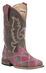 Roper® Kids Brown & Pink Patchwork w/ Brown Top Square Toe Western Boots | Cavender's