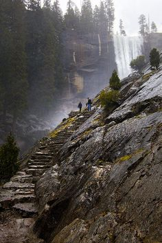 The Mist Trail in Yosemite National Park. The hike follows the Merced River, starting at Happy Isles in Yosemite Valley, past Vernal Fall, Emerald Pool, to Nevada Fall - California