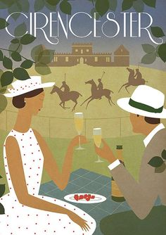 Vintage Art Deco Poster Print A3 Cirencester Polo Summer Bauhaus 1920's Romantic Picnic Vogue Original Design 1940's