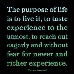The purpose of life is to live it, to taste experience to the utmost, to reach out eagerly without fear for newer and richer experience.