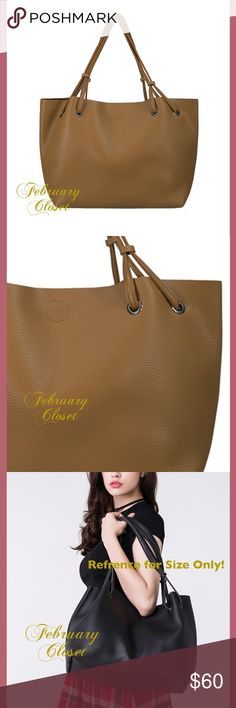Large Carry All Tote New Large golden brown faux leather pebbled tote bag with small make-up bag/or clutch. The look and feel of real leather. Snap closure. Size: Depth 6.5 inches, Height 12 inches, Width 27 inches. Strap 26 inches. Color Golden Brown. February Closet Bags Totes