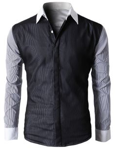 Doublju Men's Button Down Shirts With Stripe Patterned Long Sleeves (KMTSTL0114) #doublju