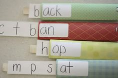 Word Familes activity reusing paper towel rolls