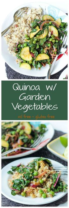 Quinoa w/ Garden Vegetables - High in protein and loaded with veggies, this is the perfect side dish or light main meal! #quinoa #highprotein #glutenfree #oilfree #healthy #veggies #chard