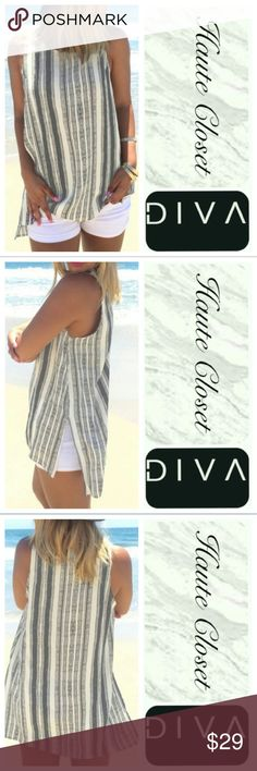 Nautical Top Gorgeous nautical blue and white striped tank; high low style. New! Great quality <3 Tops Tank Tops