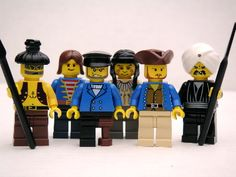 Captain Ahab and the crew of the Pequod portrayed in LEGOs.