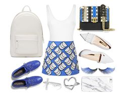 """Blue + White"" by cherieaustin ❤ liked on Polyvore featuring Courrèges, Rupert Sanderson, PB 0110, Roberto Cavalli, Keds, MAKE UP FOR EVER and Chupi"