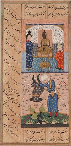 Sa'di Throwing a Priest from Somnath Down a Well, Page from a Manuscript of the Bustan (Orchard) of Sa'di Iran, Shiraz, Circa 1585 Ink, opaque watercolors, and gold on paper 7 11/16 x 3 7/8 in. (19.37 x 9.84 cm) LACMA Collections