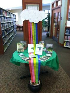 St. Patrick's Day library display from School Library Displays- Love the rainbow idea, next year for the lounge.