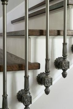 44 ideas for wrought iron stairs railing banisters Interior Stair Railing, Wrought Iron Stair Railing, Staircase Railings, Banisters, Staircase Design, Stairways, Stair Railing Design, Staircase Remodel, Stair Trim Ideas