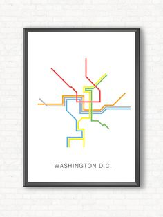 Washington D.C. Metro Map Poster - A Graphic Design Illustration Print of City…