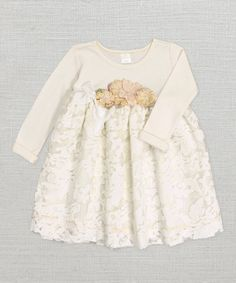 Look what I found on #zulily! Ivory Floral Lace Babydoll Dress #zulilyfinds #trufflesruffles