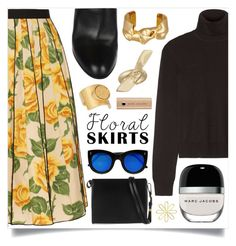 """""""Marc Jacobs Pleated floral-print poplin skirt"""" by jleigh329 ❤ liked on Polyvore featuring Equipment, Marc Jacobs, Marni, Jennifer Fisher, Gianvito Rossi, Chloé and Illesteva"""