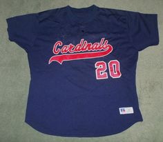 Men's Vintage Red, Blue ST. LOUIS CARDINALS MLB #20 Jersey, Size 52 XL, GUC! #RUSSELLATHLETIC #StLouisCardinals