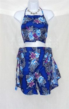 VIN & SUE FASHIONS TAHITI TIE WRAP SARONG BEACH COVER UP BLUE & VIOLET FLOWERS #Handmade #CoverUp