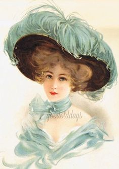 Pretty victorian lady blue hat image photo scrap booking digital image print clip art from thegoodoldaysimages on Etsy Studio