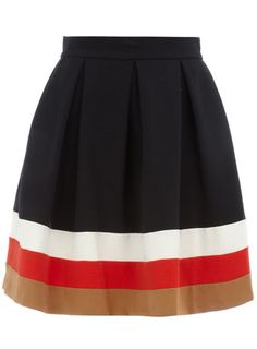 Navy flared pleated skirt. Love the color stripes.