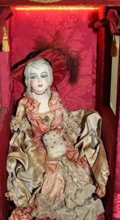 RARE Vintage Boudoir Doll and Sedan Chair