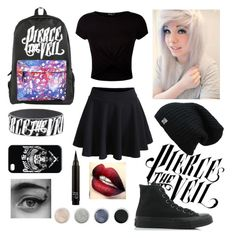 """Pierce the veil"" by cr33pyp45t4 ❤ liked on Polyvore featuring New Look, Terre Mère and Converse"