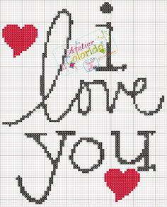 Haft krzyżykowy - i love you Cross Stitch Quotes, Cross Stitch Letters, Cross Stitch Heart, Beading Patterns, Embroidery Patterns, Stitch Patterns, Crochet Cross, Crochet Chart, Cross Stitching