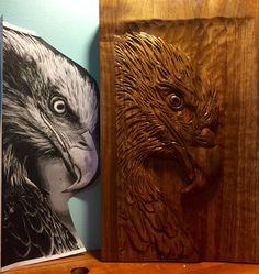 Relief carved eagle (with pattern) in butternut by Elizabeth Brown, Liverpool, NS