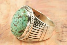 Turquoise Ring  Genuine High Grade Kingman Turquoise set in Sterling Silver Ring. Created by Navajo Artist John Nelson. http://www.treasuresofthesouthwest.com/turquoise-rings.html