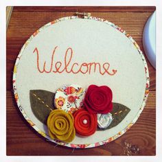 Welcome embroidery hoop art, welcome sign, welcome embroidery, embroidery hoop art on Etsy, $20.00