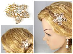 Stunning Rose Gold Crystal and Pearl Garden Hair Comb. Wedding, bridal, prom, party.