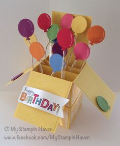 Bring On The Cake, Flirtatious Specialty DSP, Polka Dot Parade DSP, gold twine, balloons birthday card in a box